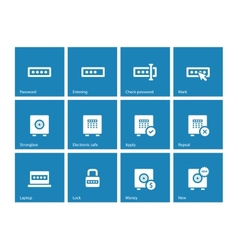 Password icons on blue background vector