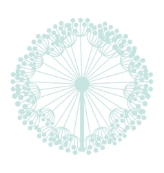 Pastel blue silhouette dandelion with pistils vector