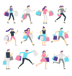 people with shopping bags shopaholic man and vector image