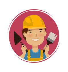 repair building logo happy builder with tools in vector image