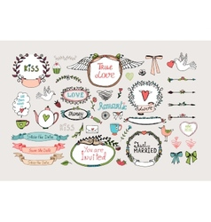 Romantic ornate frames banners and ribbons vector