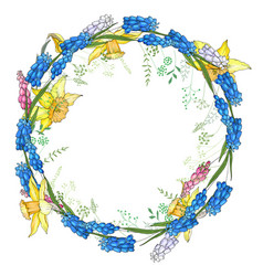 Round garland with spring flowers daffodils and vector