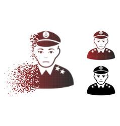 Sad dispersed pixel halftone military captain icon vector