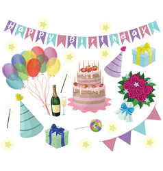 set birthday party elements eps 10 vector image