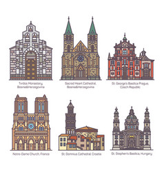 set color isolated cathedrals line church vector image