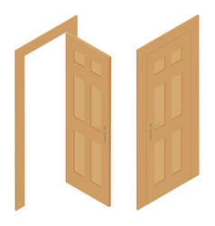set different wooden door isolated on white vector image