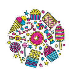 set of candies and sweets in doodle style vector image