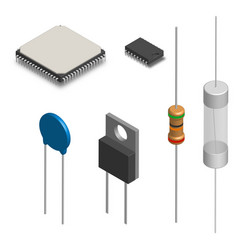 Set of different electronic components in 3d vector