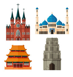 Set of place of worship for different religions vector