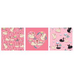 set seamless patterns with swans on a pink vector image