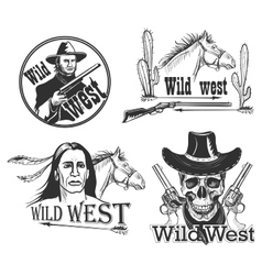 set wild west emblems vector image