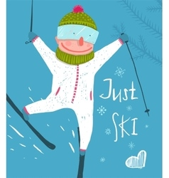 Skier Funny Free Rider Jump Fun Poster Design vector image