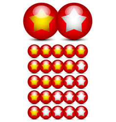 Star rating graphics with gold stars on red balls vector