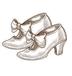 stiletto shoes vintage footwear with bows isolated vector image