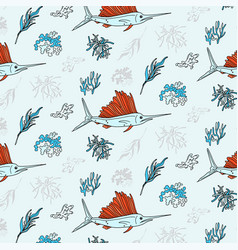 swordfish and seaweed contrast textile print vector image