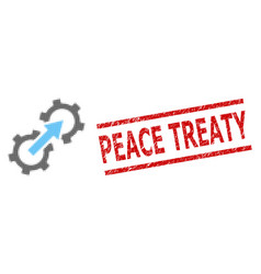 Textured peace treaty seal stamp and halftone vector
