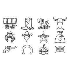 thin and simple cowboy and western icons set vector image