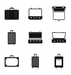 travel briefcase icon set simple style vector image