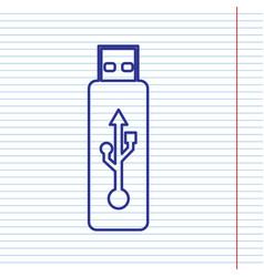 usb flash drive sign navy line vector image