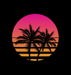vintage styled sunset with palm trees silhouettes vector image