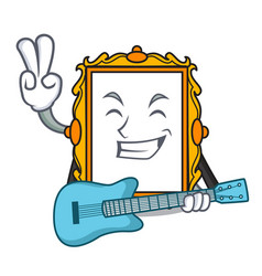 with guitar picture frame mascot cartoon vector image