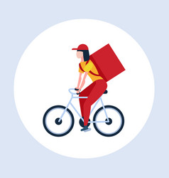 Woman courier with large backpack riding a bike vector