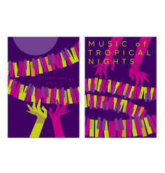 woman hands over piano keys in tropical colors vector image
