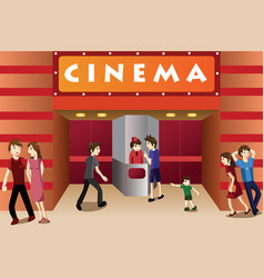 Young people hanging out outside a movie theater vector