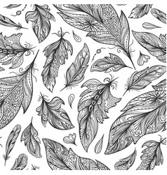 zentangle feather pattern vector image
