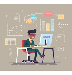 Black man working with office icons on background vector