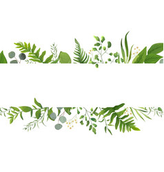 Floral greenery card design forest fern frond vector