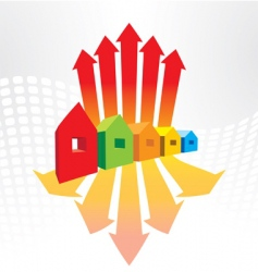 houses and arrows vector image