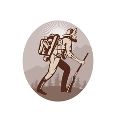 Miner prospector hunter trapper hiking vector image vector image