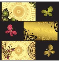 Set of golden business cards vector image