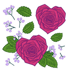 set of hand drawn rose heart shape flowers and vector image