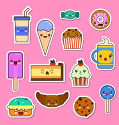 set of kawaii food characters sweets and vector image vector image