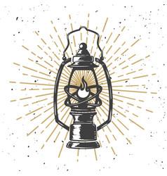 vintage kerosene lamp with light lines design vector image vector image