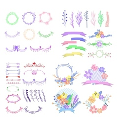 Big set of cute floral design elements vector image vector image