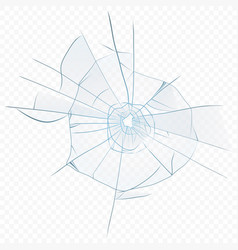 cracked crushed realistic glass on the vector image