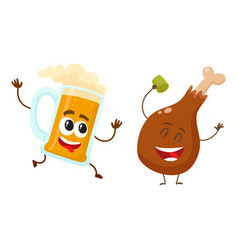 funny beer mug and fried chicken leg characters vector image vector image