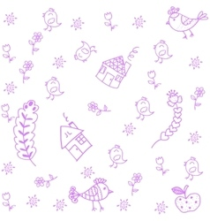 Purple House and leaf doodle art vector image