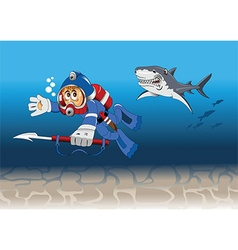 Underwater diver chase cartoon vector