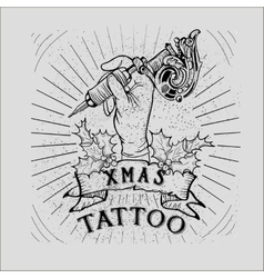 Vintage Christmas Skull tattoo vector image