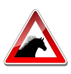 A warning sign horse vector