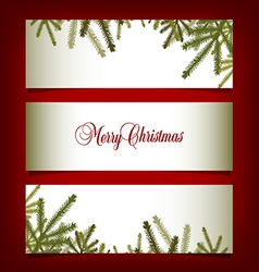 Classic Christmas banners with pine needles vector image vector image