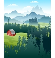 landscape with forest and mountains vector image