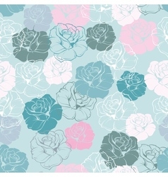 Seamless floral blue pattern rose background vector image vector image
