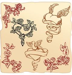 Set of vintage elements for Valentines Day vector image