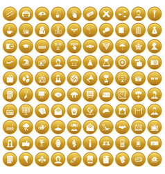 100 journalist icons set gold vector