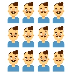 Face emotional icon on white background vector image